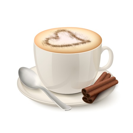 cream filled: Side view on realistic beige cup filled with coffee and cream decorated by a cinnamon pattern in the form of heart illustration