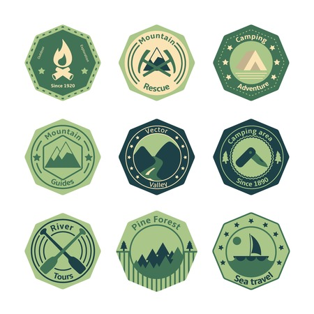 Outdoors tourism camping flat emblems set of fire camp tools and river isolated illustration Vector