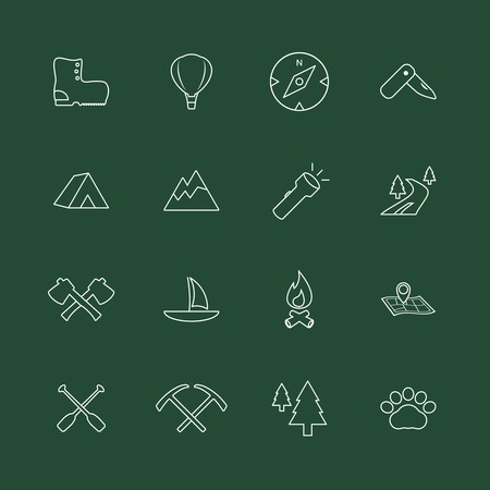 Outdoors tourism camping internet website elements of fire camp axe and boots isolated illustration Vector