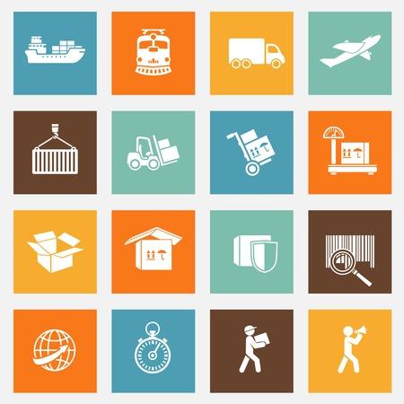 cadenas: Servicios de transporte de logística pictogramas colección de aislados ilustración de diseño web