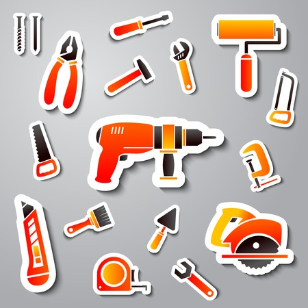 Collection of tool stickers of wrench hammer spanner and screw isolated illustration Vector
