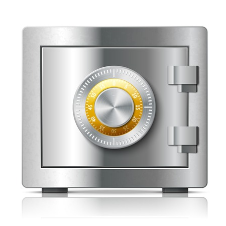 bank vault: Realistic steel safe icon security concept with code lock illustration