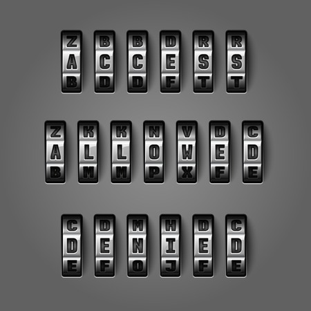 combination lock: Access allowed denied words by mechanical alphabet for combination codes concept illustration