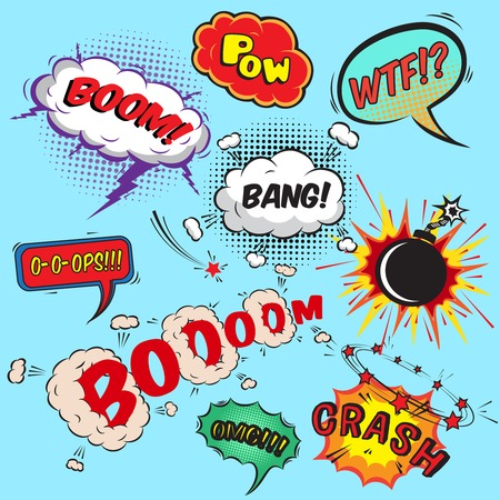 Comic speech bubbles design elements collection isolated illustration Illustration