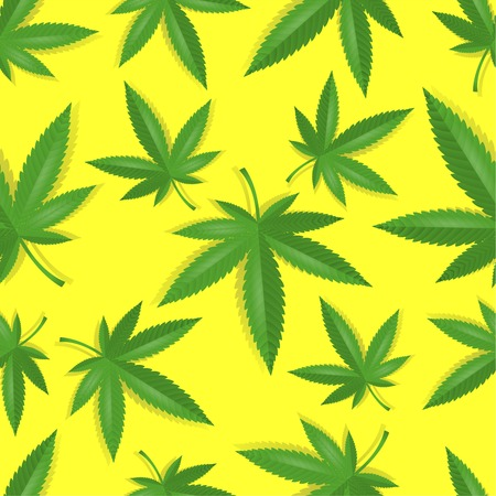 Seamless marijuana cannabis leaves pattern background  Vector