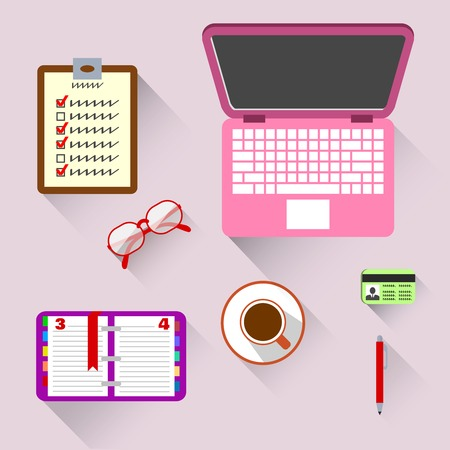 business woman tablet: Top view on business workplace with book computer coffee and glasses illustration