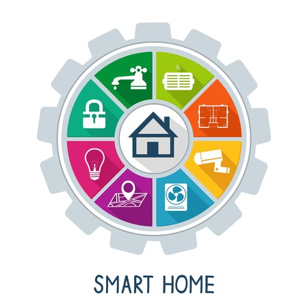 cogs: Potenza Sicurezza concetto di Smart tecnologia domotica utilit� di sicurezza e di controllo della temperatura icone illustrazione