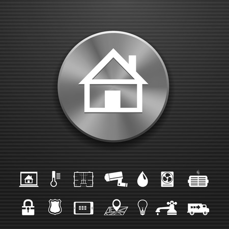 mobilhome: La technologie d'automatisation intelligente de la maison en m�tal mod�le de bouton avec les services publics ic�nes ensemble illustration