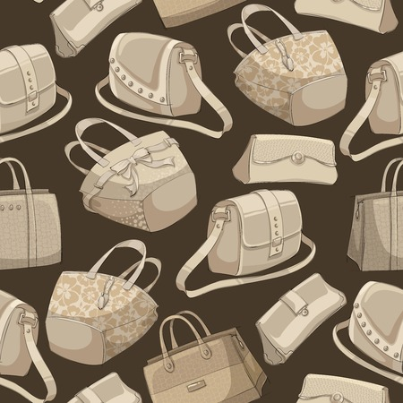 Seamless womans stylish bags retro pattern background illustration Vector