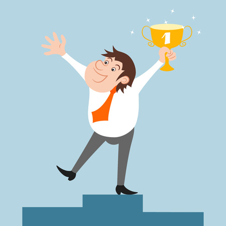 Happy businessman character won trophy success celebration illustration