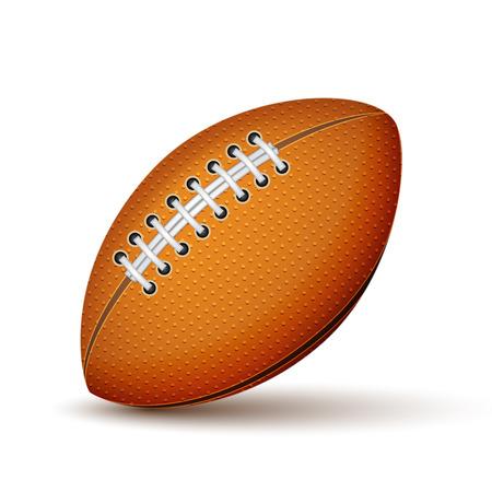 pelota rugby: Fútbol realista o icono pelota de rugby aislado Ilustración