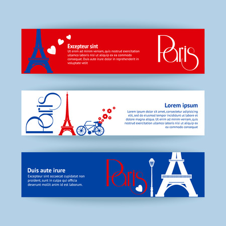Collection of banners and ribbons with Paris landmark buildings isolated illustration Vector