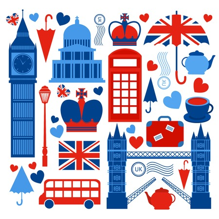 english culture: London symbols collection of tower bridge big ben and telephone booth culture isolated illustration Illustration
