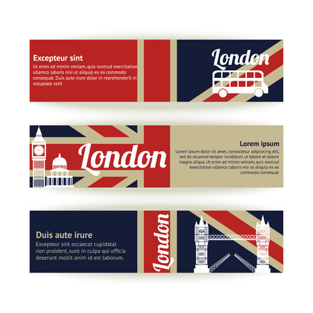 english culture: Collection of banners and ribbons with London landmark buildings isolated illustration