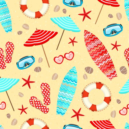 Seamless summer holiday vacation pattern background illustration Vector
