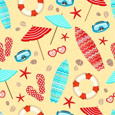 Seamless summer holiday vacation pattern background illustration