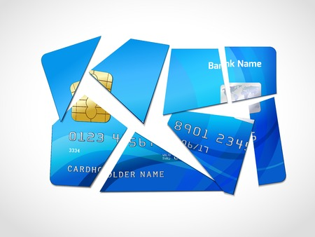 debt collection: Broken credit card default debt bankruptcy symbol isolated illustration