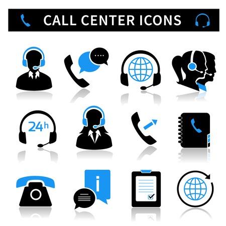 Callcenter dienst iconen set van contacten mobiele telefoon en communicatie geïsoleerde illustratie