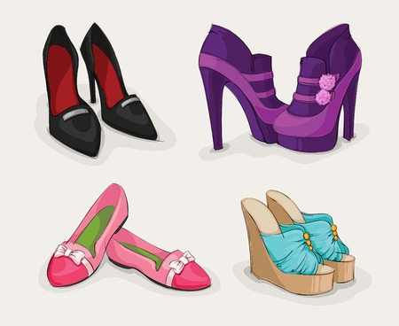 sandals isolated: Fashion collection of classic womans black shoes on high heels ankle boots and sandals isolated illustration