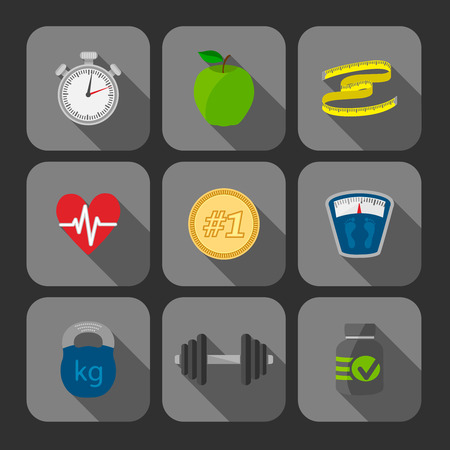 physical fitness: Fitness exercises progress icons set of heart rate strength and slimness isolated illustration Illustration