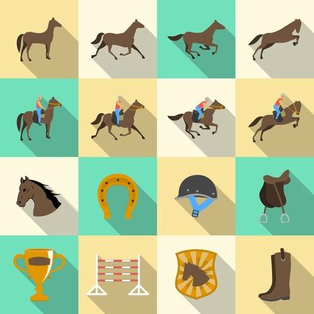 parapente: Cabalgata sombras planas iconos conjunto de jinete del caballo doma clásica y de herradura, ilustración vectorial