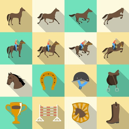horseback riding: Horseback riding flat shadows icons set of horse rider sport dressage and horseshoe isolated vector illustration