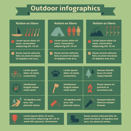 Camping and outdoor recreation travel infographic elements for web design and presentation illustration Vector