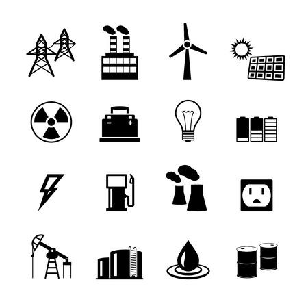 Energieleistung Piktogramm Sammlung von Glühbirne elektrische Batterie und fossilen Brennstoffen, Abbildung Standard-Bild - 26330477
