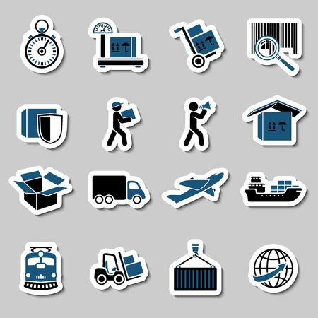 global logistics: Logistic transportation services stickers collection of cargo shipping technology illustration