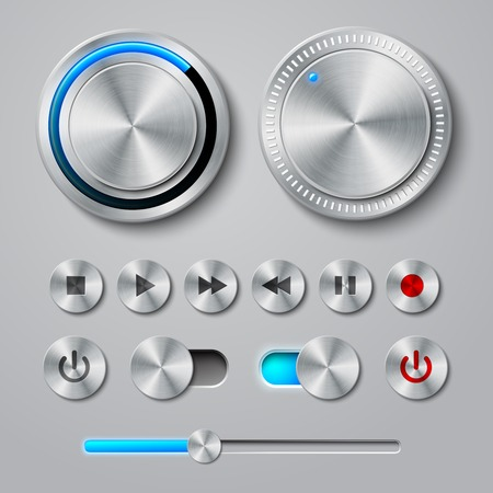 playback: Metal interface buttons collection for power volume playback control illustration Illustration