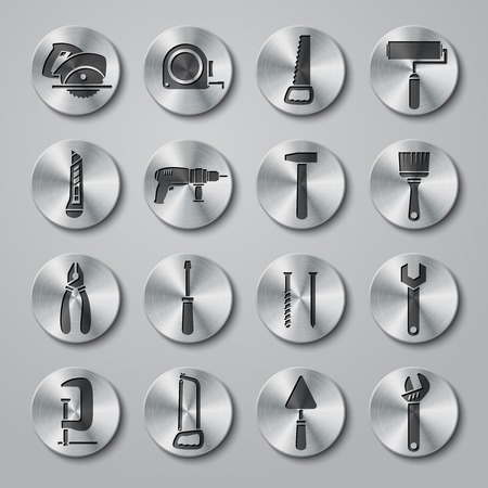 gripe: Toolbox icons set on round metal buttons of wrench hammer spanner and screw isolated illustration