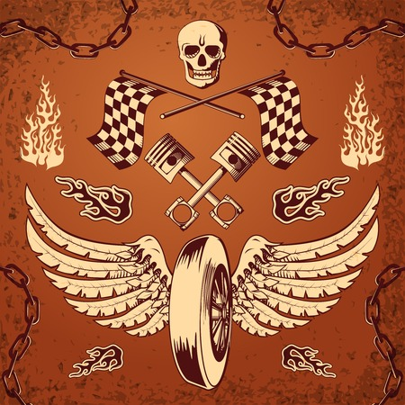 racer flag: Motorcycle bike vintage design elements of skull wheel piston and flames illustration Illustration