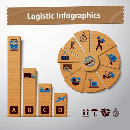 szállítás: Logisztikai közlekedési szolgáltatás karton infographics elemek táblázatok és grafikonok illusztráció Illusztráció