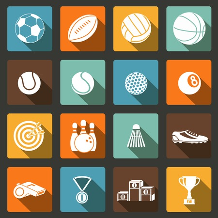 cricket ball: Sports white long shadow icons set of football baseball basketball and tennis balls isolated illustration