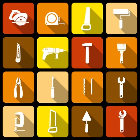 Tools icons set of wrench hammer spanner and screw isolated illustration Vector