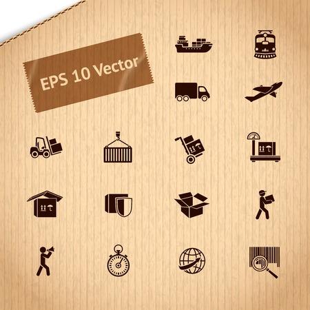 Logistic transportation service icons set of shipping delivery and supply chain on cardboard illustration Vector