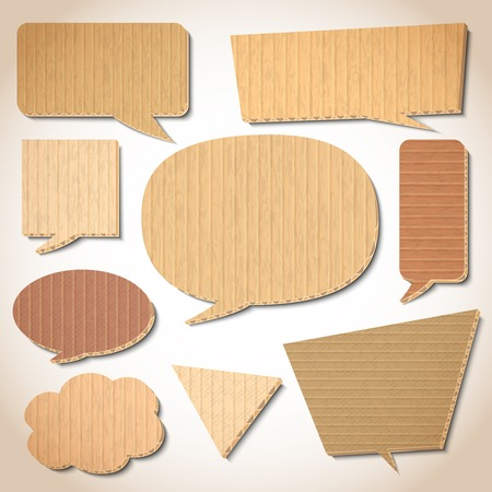 bubles: Cardboard speech bubbles design elements set isolated illustration