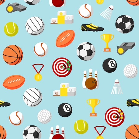 sport balls: Seamless sports ball and equipment pattern background illustration