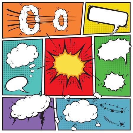 libro caricatura: Burbujas de discurso cómico y tiras de fondo cómico Vectores