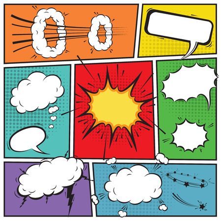 Comic speech bubbles and comic strip background  Ilustração