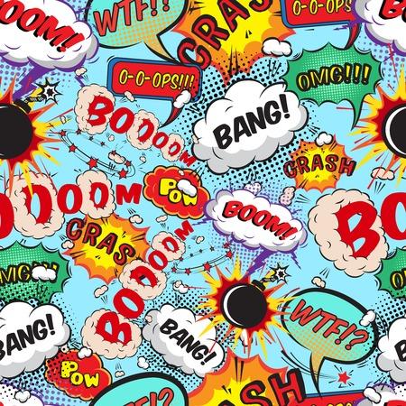 Naadloos patroon komische tekstballonnen illustratie