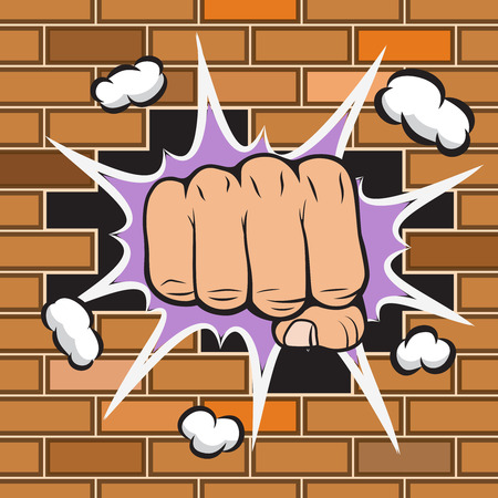 Clenched fist hit the wall emblem vector illustration Vector