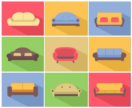 快適なソファ、ソファ家具のアイコン セット リビング ルームの図  イラスト・ベクター素材