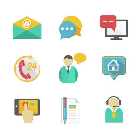 contact us icon: Customer helpdesk contacts design elements of envelope call and support apps isolated illustration Illustration