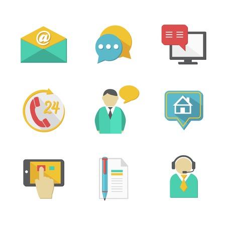 Elementos de diseño de contactos de helpdesk cliente de llamadas de soporte sobre y aplicaciones aisladas ilustración