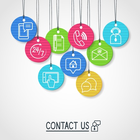 us: Contact us cardboard labels and tags set of email phone communication and representative person illustration Illustration