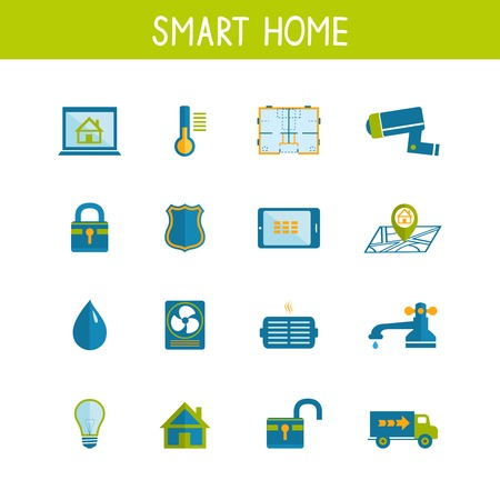 Iconos de la tecnología domótica inteligente juego de la eficiencia energética de seguridad y utilidades de ahorro de energía aislados ilustración