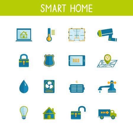 utilities: Iconos de la tecnolog�a dom�tica inteligente juego de la eficiencia energ�tica de seguridad y utilidades de ahorro de energ�a aislados ilustraci�n Vectores