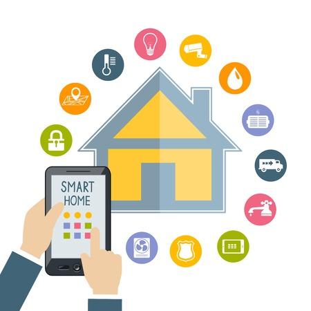 Mano que lleva a controles de la tableta del teléfono móvil de tecnología para el hogar de temperatura de seguridad luz agua inteligente concepto plana ilustración