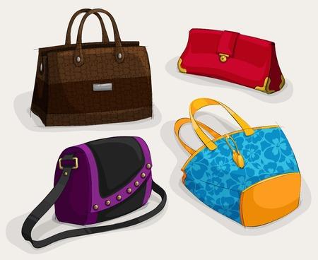 modelos negras: Bolsas de colección de clásico bolso de cuero del bolso de la taleguilla y aislada embrague ilustración de la mujer de moda